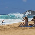 Everyone loves hanging out at Sandy's and watching the surf.- Sandy's Beach