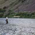 Fly fishing along the Lower Deschutes near Beavertail Recreation Site.- Beavertail Recreation Site + Campground