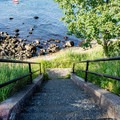 Steps leading to the water's edge at Fort Sewall.- Fort Sewall