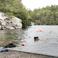 Playing games in the water.- Lake Minnewaska