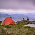 Taking in the view on Grassy Ridge Bald, also a perfect spot for sleeping under the stars!- Carvers Gap to Grassy Ridge Bald