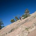 Steep high-angle slabs of rock.- Mount Elden Slabs