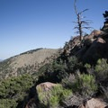 A view while moving left of the fin at the top of the slabs.- Mount Elden Slabs