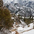The view down the route.- Mount Olympus Snowshoe