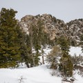 The summit view from the saddle.- Mount Olympus Snowshoe