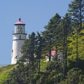View of the Heceta Head Lighthouse from Cape Cove Beach.- Cape Cove Beach