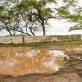 The parking area can easily flood during rain.- Makua Beach