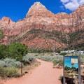 Trailhead with a view of Bridge Mountain.- Watchman Trail