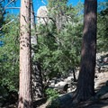 First view of Castle Rock on the approach from Big Bear Blvd/CA-18.- Castle Rock Crag via Lower Trailhead