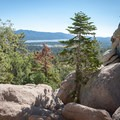 An easy scramble at the top of the hiking trail gives access to the spectacular summit views.- Castle Rock Crag via Lower Trailhead