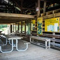The interior of the Blue Bird Barn.- Seven Islands State Birding Park