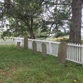 Headstones marking a few young marines that perished at English Camp.- San Juan Island: Young Hill
