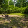 Typical campsite in Worthington State Forest Campground.- Worthington State Forest Campground