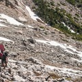 A chossy approach in late spring.- Dead Elk Couloir