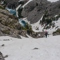 Making our way up the couloir.- Dead Elk Couloir