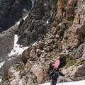 Nearing the middle of the couloir.- Dead Elk Couloir