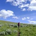 The trail runs through beautiful sagebrush country.- Agate Creek