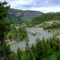 View of the Yellowstone River from the campsite.- Agate Creek