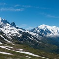Aiguille Verte and Mont Blanc above the Chamonix valley.- Tour Du Mont Blanc: Stages 9, 10 + 11