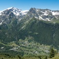 Villages north of the ridge opposite Mont Blanc.- Tour Du Mont Blanc: Stages 9, 10 + 11