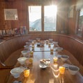 Breakfast setup at Lac Blanc refuge.- Tour Du Mont Blanc: Stages 9, 10 + 11