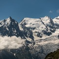Aiguille du Midi looking small next to Mont Blanc.- Tour Du Mont Blanc: Stages 9, 10 + 11