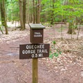 This campers-only trail leads down into the gorge.- Quechee State Park Campground