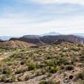 Arid desert scenery at Canyon Lake.- Canyon Lake: Boulder Recreation Site