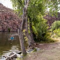 Lots of sandy areas for a picnic by the water.- Canyon Lake: Boulder Recreation Site