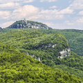 View of Skytop Tower from the eastern ridge to Gertrude's Nose.- Minnewaska State Park Preserve