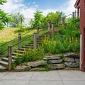 Stairs at the visitor center lead down to the hiking trail.- Quechee State Park