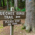 The trail starts behind the visitor center.- Quechee State Park