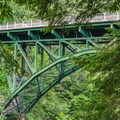 The other direction on the Quechee Gorge Trail heads uphill under the bridge.- Quechee State Park