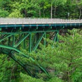 Another peek at the bridge heading back from the dam.- Quechee State Park