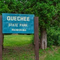 Just over the bridge is a picnic area.- Quechee State Park