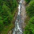 A look down into the gorge.- Quechee State Park