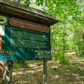 A kiosk at the junction where the Cabin Trail and Red Hill Trail split.- Red Hill Fire Tower via Red Hill + Cabin Trails