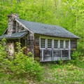 An old hunting cabin on the Cabin Trail.- Red Hill Fire Tower via Red Hill + Cabin Trails