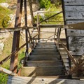 The fire tower steps lead to an amazing view.- Red Hill Fire Tower via Red Hill + Cabin Trails