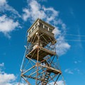 Looking up at the Red Hill Fire Tower.- Red Hill Fire Tower via Red Hill + Cabin Trails