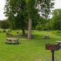 Picnic tables and fixed charcoal grills are scattered throughout the park for guest use.- Lake Taghkanic State Park