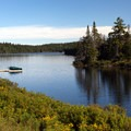 This Bennett Lake landscape features a portion of the serene woodland lake.- Bennett Lake