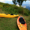 A cleared path on this short hill is used as a kayak launching spot.- Bennett Lake