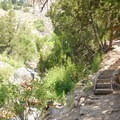 The stairs approaching Gold Bug Hot Springs.- Gold Bug Hot Springs