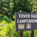 The access road to Tower Fall Campground.- Tower Fall Campground