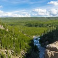 The falls is right on the rim of the caldera.- Gibbon Falls