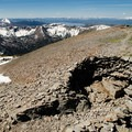 A shelter on the summit protects from the wind.- Avalanche Peak