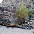 Keep an eye out for cairns and footprints. The trail follows the wash for quite awhile.- Bear Canyon to Seven Falls Trail