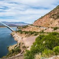 Apache Trail (Highway 188) wrapping around the mountain.- Inspiration Point + Theodore Roosevelt Dam