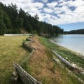 Parade grounds up to Garrison Bay in English Camp.- San Juan Island National Historical Park